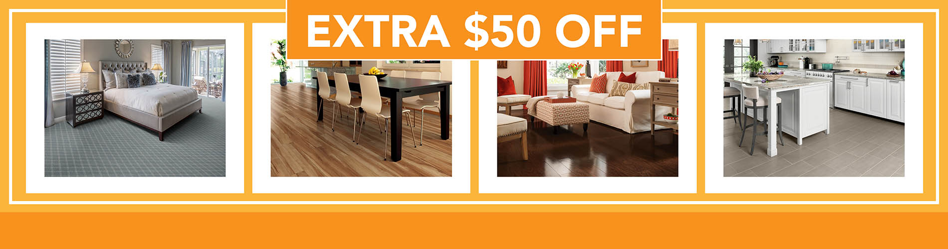 Come in today to save up to $50 off all flooring in our store.  All Carpet, Hardwood, Tile, Luxury Vinyl, Laminate, and Waterproof Flooring