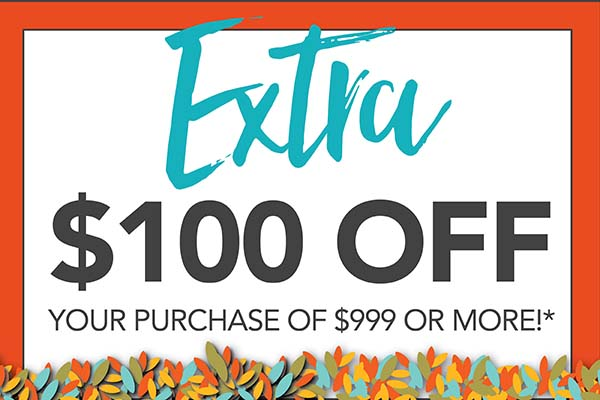 Take an extra $100 off your purchase of $999 or more with coupon!  Expires 9/30!  Not valid on clearance or prior purchases.